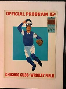 1973-Chicago-Cubs-vs-Montreal-Expos-Opening-Day-Program-w-Ticket-Stub-GOOD