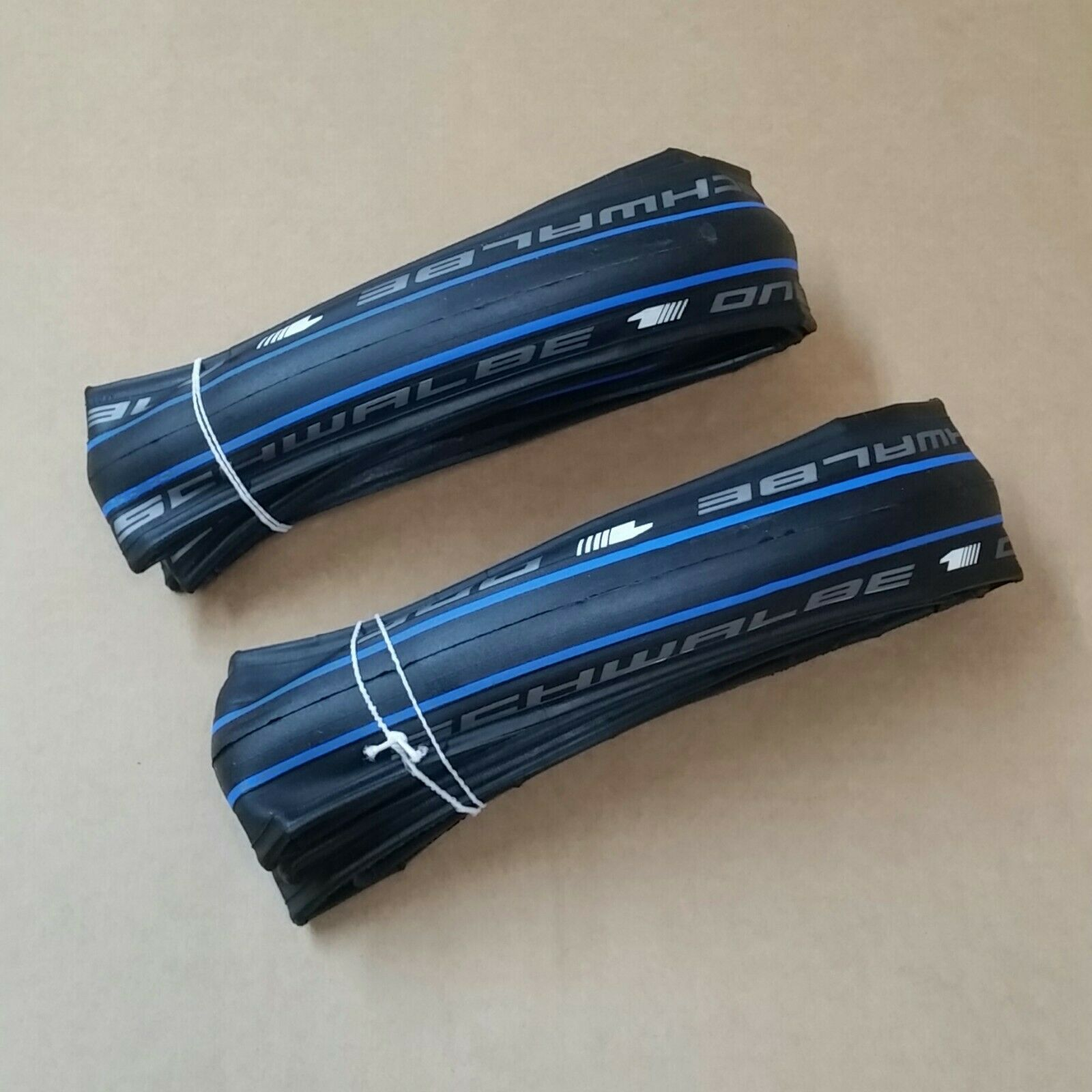 Pair of 700c x 23mm Schwalbe  One V-Guard Road Bike Tyres HS448 bluee Stripe  leisure