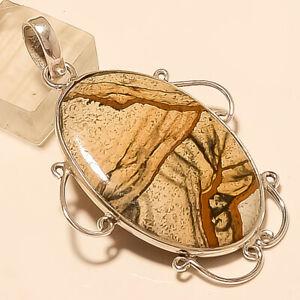 Natural-American-Picture-Jasper-Pendant-925Sterling-Silver-Handmade-Fine-Jewelry