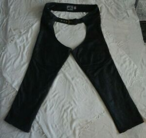 California-Creation-039-s-Black-Genuine-Heavy-Leather-Chaps-Size-XXL-Made-In-USA