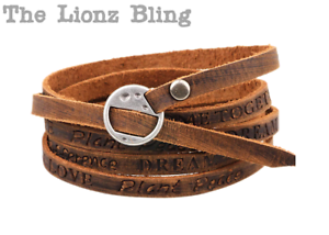 "Adjustable Black /& Brown Leather Bracelet with a Handcuff /""Freedom/"" Design"