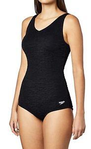 Speedo, Women's Black Pebble Textured One Piece Swimsuit, Size 8, Built In Bra