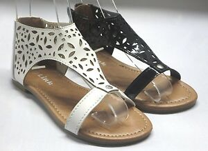 ac965a07b75e1f Image is loading Girl-Patent-Sandals-sacha32-Youth-Black-White