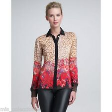 PETER SOM LEOPARD & FLOWER-PRINT BLOUSE SZ 2 100% SILK MADE IN ITALY $940.00