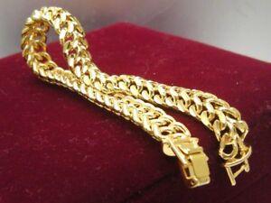 Ladies-18ct-18K-Yellow-gold-GF-10mm-Mesh-womens-mens-bracelet-20-cm