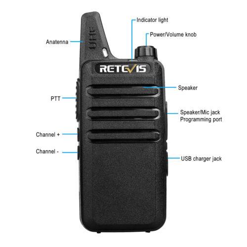 10xWalkie Talkie Retevis RT22 2-Way Radio 2W UHF400-480MHz 16CH VOX Scan Black