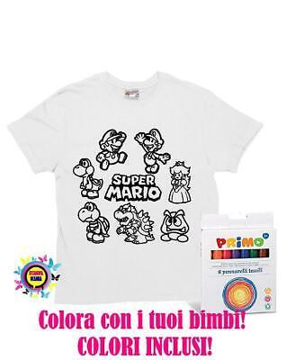 T Shirt Bambino Da Colorare 8 Colori Per Tessuti Inclusi Stampa Super Mario Ebay