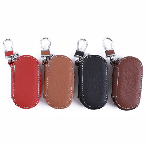 New Fashion Leather Car Key Chain Ring Keychain Case Holder Zipped Bag Purse HS