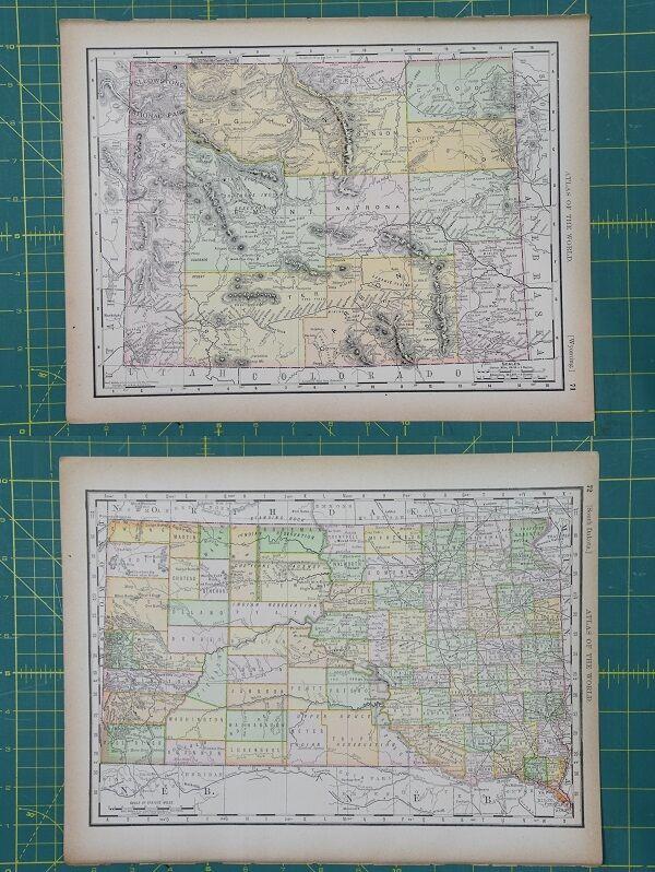 Wyoming south dakota vintage original 1894 rand mcnally world atlas wyoming south dakota vintage original 1894 rand mcnally world atlas map lot gumiabroncs Image collections