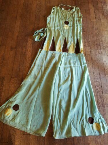 1930s mint green silk beach pyjamas, yellow, brown