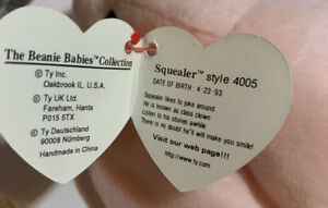 SQUEALER The Pig 4005 1993 TY Beanie Babies Rare Retired Mint Tag ERRORS