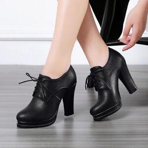 9ef0c87c4b0ad Womens Block High Heel Lace Up Platform Pumps Party Shoes AU Plus ...