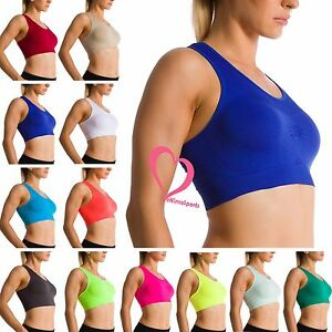 ca54ed21060b5 Image is loading Women-Seamless-Racerback-Yoga-Sports-Fitness-Fashion-Bra-