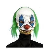 Scary Clown Chinless Mask With Green Hair