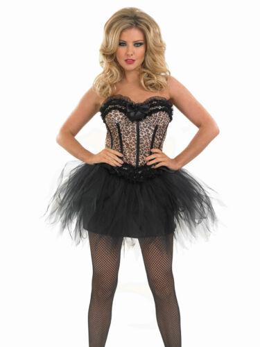 Leopard Print Corset /& Tutu Moulin Rouge Buresque Fancy Dress Costume 18-20