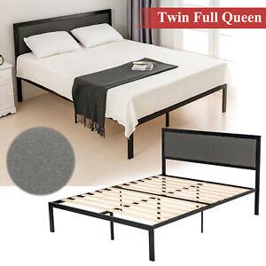 Twin-Full-Queen-Size-Upholstered-Linen-Headboard-Platform-Bed-Frame-w-Wood-Slats