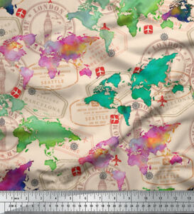 World Map Print Fabric.Soimoi Fabric Stamp World Map Print Fabric Mtr Mp 504e Ebay