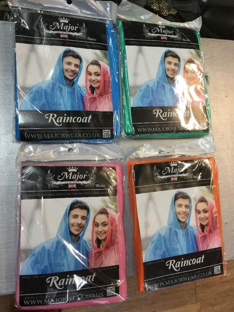 Waterproof Hooded Raincoat / Poncho - SINGLE OR WHOLESALE JOB LOT