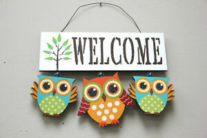 Image Is Loading Wooden Owl Welcome Sign Door Decor Hanging Cute