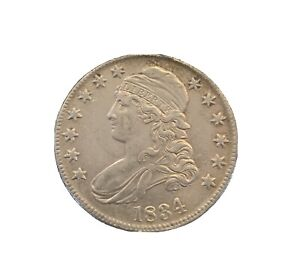1834 Silver Capped Bust Half Dollar 50C  Large Date Small Letters. AU