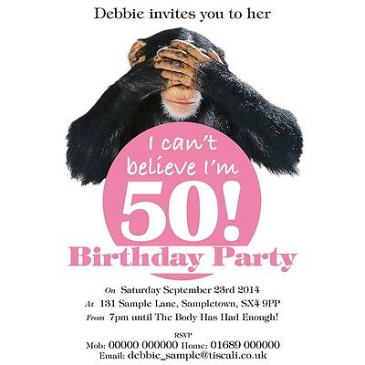 Personalised Birthday Invites Invitations 21st, 40th 50th ANY AGE Chimp Funny