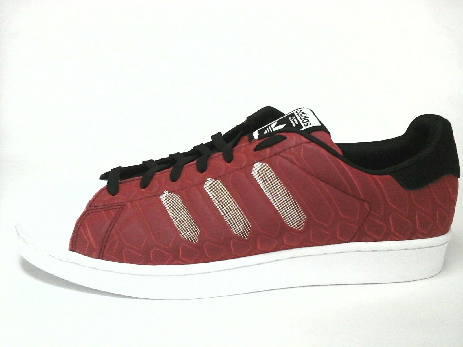ADIDAS SUPERSTAR Mens SHOES Red/Black Snake Sneakers Clamshell US 12 /3