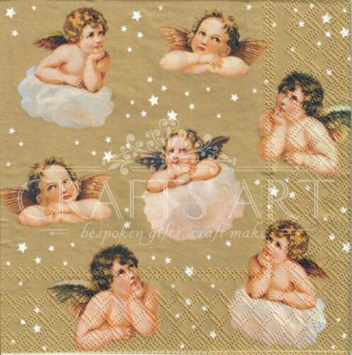 angel Angels stars  -X108 Christmas Gold 4 Single paper decoupage napkins