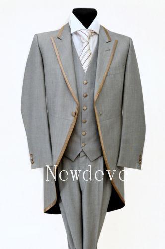 Gray Men Wedding Suits Tail Coat Formal Golden Edge 3 Piece 1 Button Custom Made