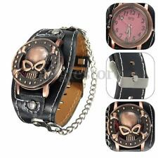 Punk Rock Chain Skull Leather Watch Women Men Bracelet Cuff Quartz Analog Watch