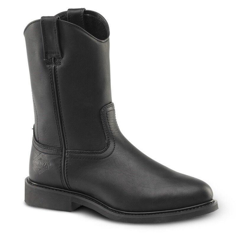 Para Hombre Negro 10  Roper Cuero Impermeable botas De Trabajo BONANZA 104 (D, M)