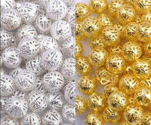 GOLD-amp-SILVER-PLATED-Metal-FILIGREE-Spacer-BEADS-amp-Choose-4MM-6MM-8MM-10MM-12MM