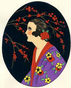 1930s-French-Pochoir-Print-Art-Deco-Asian-Motifs-Geisha-Cherry-Blossom-Kimono-S