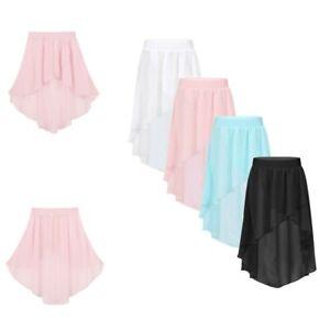 Kids-Girl-Chiffon-Skirt-Ballet-Skating-Gymnastics-High-Low-Dance-Dress-Dancewear