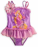 Disney Store Princess Tangled Rapunzel Girl 1 Pc Deluxe Swimsuit Size 5/6 7/8