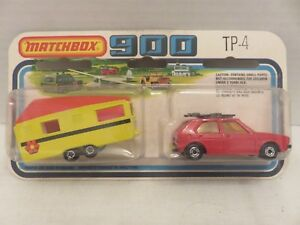 1978-Matchbox-SuperFast-900-VW-Golf-Red-Trailer-Caravan-TP-4-England-Die-Cast