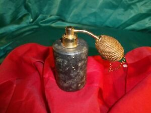 alter-Parfuem-Zerstaeuber-mit-Pumpe-Marmor-dunkel-grau-meliert-gold-Parfuem-Flakon