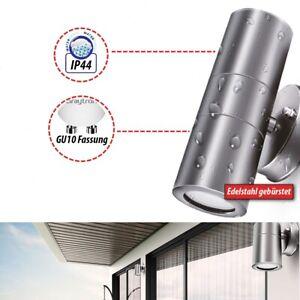 LED-Aussenleuchte-Wandleuchte-GU10-IP44-WL-2-Wandlampe-Garten-Strahler-Edelstahl