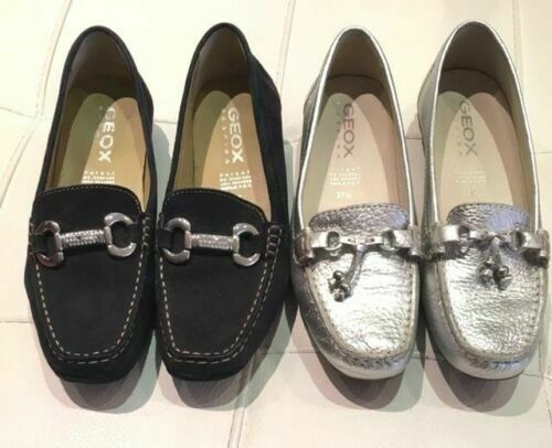 GEOX RESPIRA LOT of 2 Women Flat shoes Loafers SILVER & Suede blueE Size 7.5 & 7
