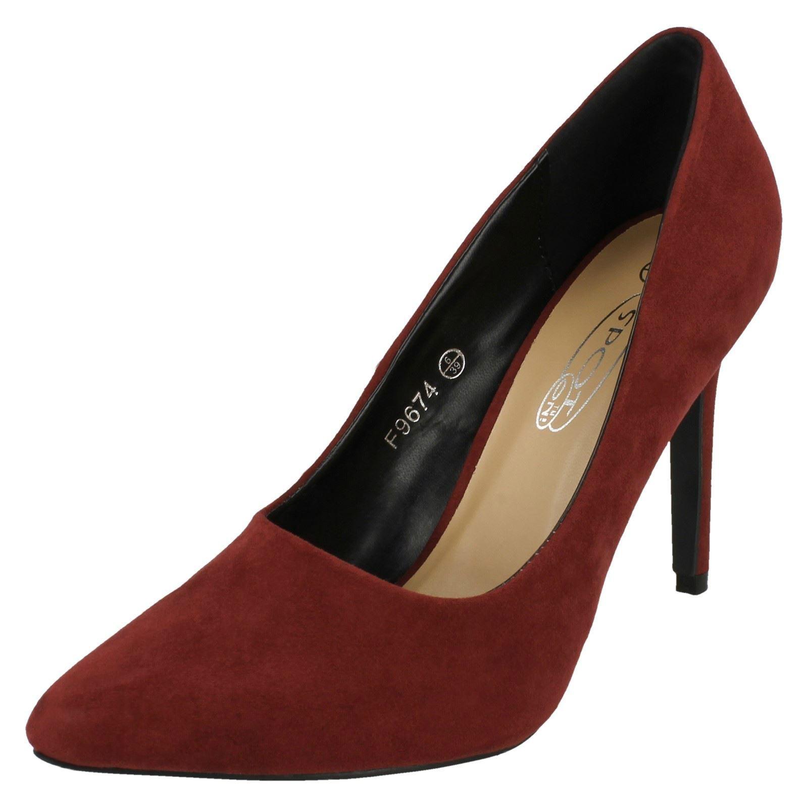 Spot On F9674 Ladies Burgundy Faux Suede Court Shoe (34A) (Kett)