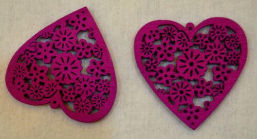 Coeurs en bois pendentifs boucles d/'oreilles perles conclusions bois soutache découpage wp354