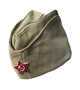 Genuine-Russian-Soviet-USSR-Red-Army-WW2-Military-Uniform-Pilotka-Hat-Cap-Badge