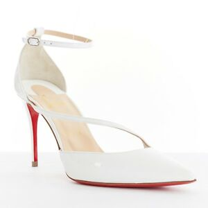 new-CHRISTIAN-LOUBOUTIN-Fliketta-85-white-patent-cross-strap-dorsay-pump-EU38-5