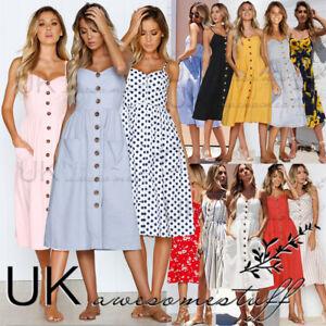 UK-Womens-Summer-Holiday-Button-Through-Ladies-Long-Smock-Sundress-Size-6-20