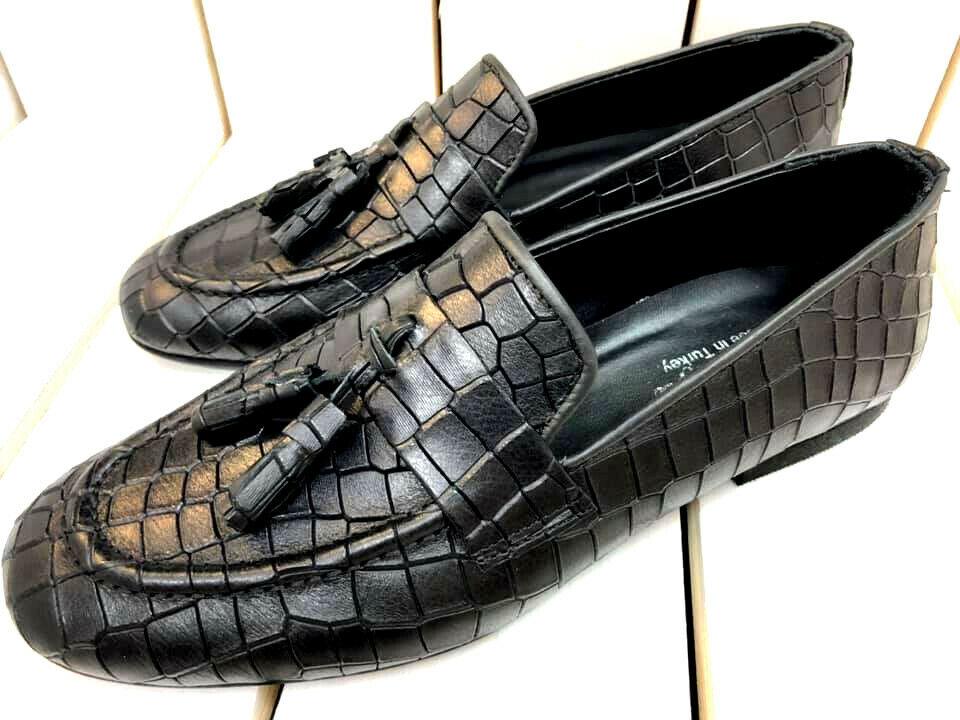 Designer Slipper Mocassini Nero Coccodrillo Mocassino Mocassini pelle Vitello Sautope classeiche da uomo