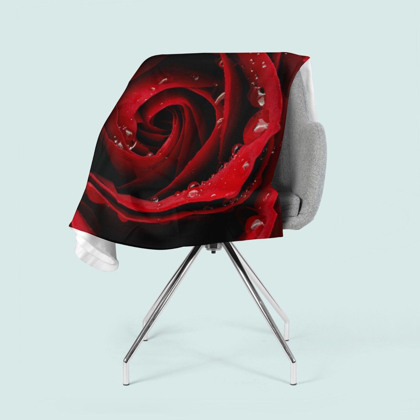 Foto-Kuscheldecke rote Rose bedruckte Wohndecke mit Motiv Fleecedecke nach Maß