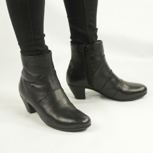 GINERVA Ladies Womens Leather Pleated YKK Zip Up Heeled Winter Ankle Boots Black