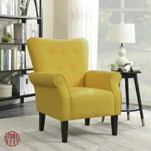 Details About Yellow Accent Chair Roll Arm Home Furniture Indoor Living Room Modern Belleze