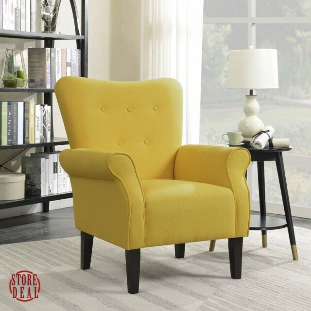 Stupendous Yellow Accent Chair Roll Arm Home Furniture Indoor Living Room Modern Belleze Squirreltailoven Fun Painted Chair Ideas Images Squirreltailovenorg