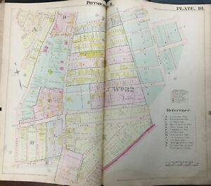 Washington Park Pittsburgh Pennsylvania Bigham/'s Woods Lelia Street to Wilbert Street /& Southern Avenue Park ATLAS MAP Reproduction 1901 Mt