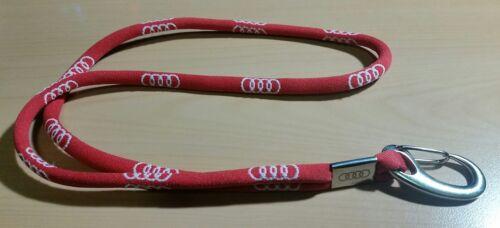 Audi Cinta de Llaves Lanyard Soporte Logotipo Rojo Original 2015-46cm